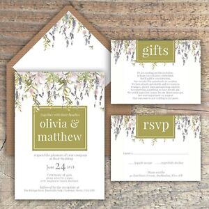 Details About Wedding Invitations Personalised Lavender Wisteria Watercolour Packs Of 10