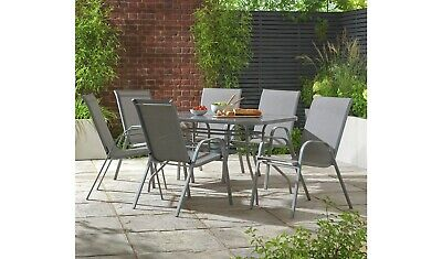 home sicily 6 seater metal patio set grey parasol included ebay