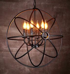 Round Chandelier Light Fixture Globe Metal Rustic