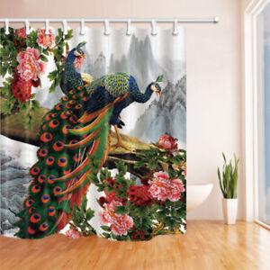 details about flowers bird peacock shower curtain bathroom waterproof fabric 12 hooks 71 71