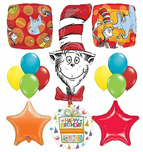 Dr Seuss Cat In The Hat Birthday Party Supplies And Balloon Bouquet Decorations For Sale Online Ebay