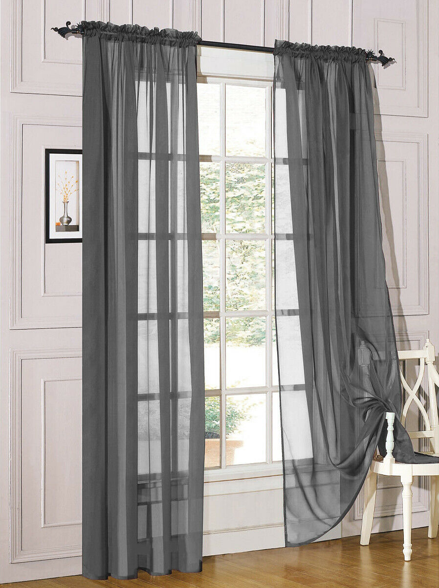 2 piece sheer voile rod pocket window panel curtain drapes many sizes colors shopping com