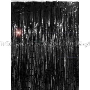 details about black metallic foil fringe tinsel curtain wedding backdrop xmas party