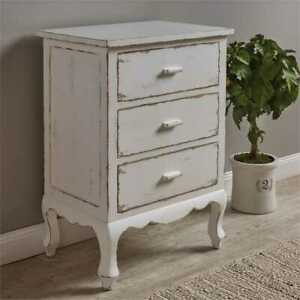 details about distressed white cupboard dresser nightstand with 3 drawers by park designs