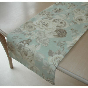 details about small 3ft coffee table runner roses beige brown cream on duck egg blue 36 90cm