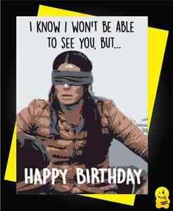 Funny Silly Birthday Card Friend Relative Co Worker Birdbox Sandra Bullock Ebay