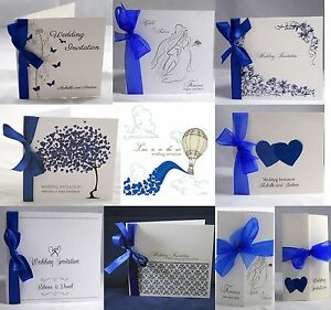 Details About Royal Blue Wedding Invitations Personalised Ribbon Envelopes Day Evening