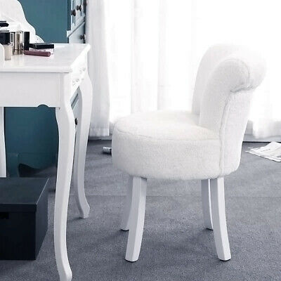 white fluffy dressing table stool vanity makeup chair scroll back padded seat ebay