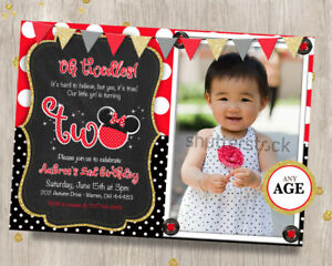 details about oh twodles red minnie mouse second first birthday invitation 2nd 1st all ages