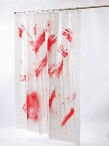 details about bloody shower curtain scary horror psycho motel crime scene bathroom decor