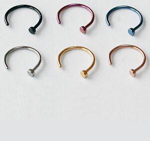 2 Stück Nasenpiercing Ring Nasenring Nasen Piercing Titan Gold pt Nose Hoop