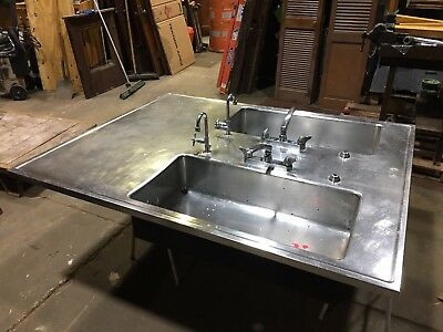 big stainless steel double basin island top science lab sink industrial kitchen ebay
