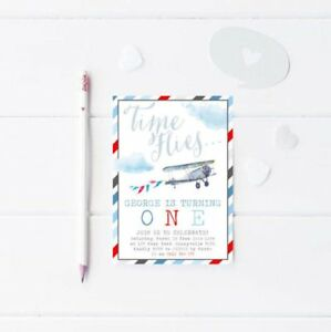 details about printable boy s birthday invitation time flies vintage airplane digital invite