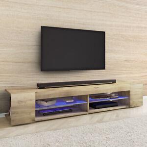 details sur meuble tv mitchell 180 cm effet chene wotan blanc noir eclairage led