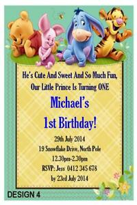details about 1 x 1st birthday boys winnie the pooh personalised party invitations magnets
