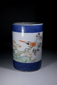 Antique Chinese Republic Porcelain Brush Pot Bird and Flowers with Inscription