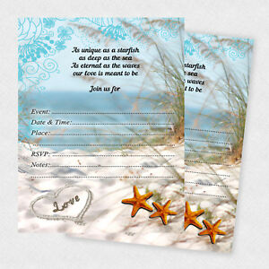 Details About Starfish Wedding Invitations Beach Sand Anniversary Decoration Qty 30