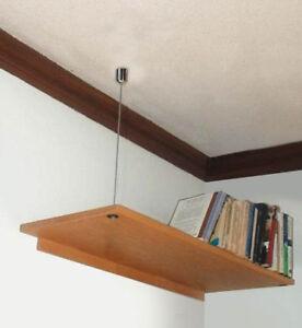 details sur etagere en bois renforcer kit steel wire rope cable mur plafond suspendue etageres afficher le titre d origine