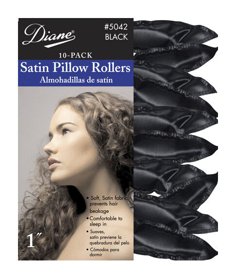 diane 7 8 inch satin pillow rollers black d5042