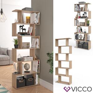details sur vicco cloison levio 6 compartiments meuble de separation etagere a livres sonoma