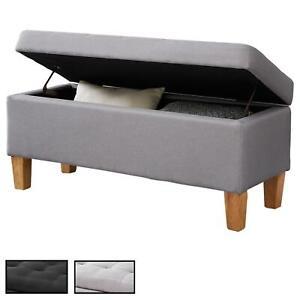 details sur banc coffre rangement bout de lit mdf pied en bois revetement capitonne tissu
