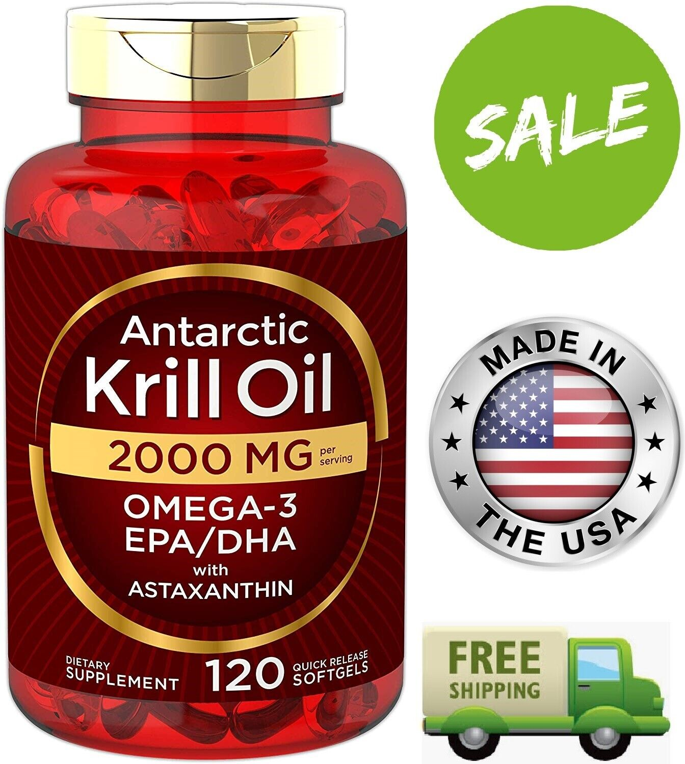 ANTARCTIC KRILL OIL 2000 mg Omega-3 EPA DHA Astaxanthin Supplement 120 Softgels