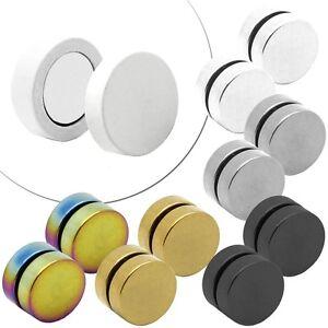 2 Magnetische Fakeplugs Fake Plug Tunnel Magnet Ohrclips Piercing Weiß Schwarz