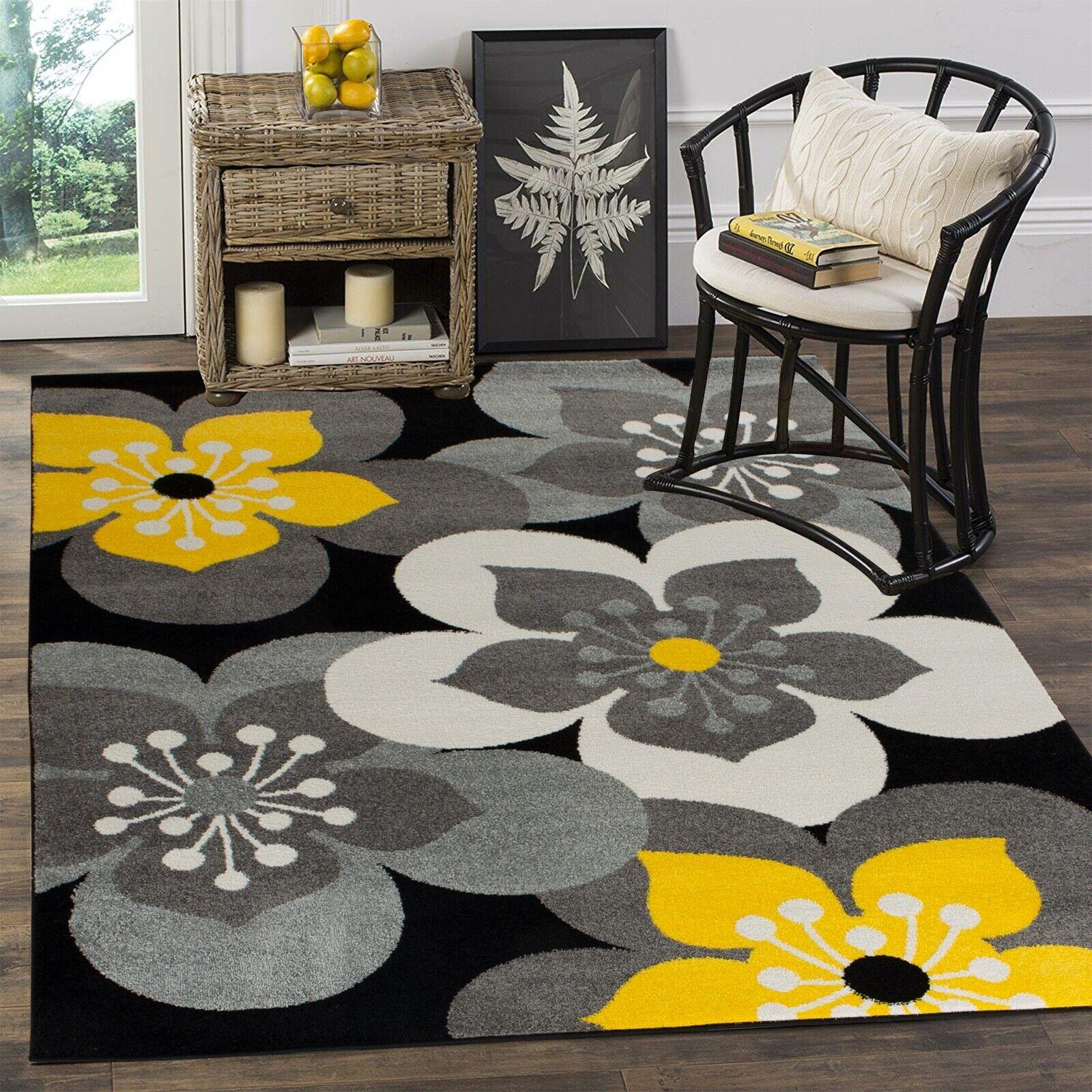 Area Rug Oxfrd13 Flowers Gray Yellow Black White Soft Pile Size 2x3 3x5 5x7 8x11 Ebay