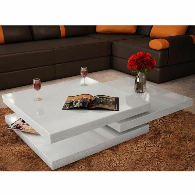 table basse blanc laque carree pivotante 3 plateaux