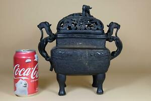 👀 18th Antique Chinese Bronze Censer And Cover.Marked.