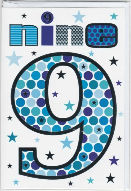 Boy Age 9 Years Old Happy 9th Birthday Greetings Card Son Brother Grandson Blue For Sale Online Ebay