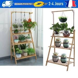 details sur support de fleur d echelle en pot etagere a fleurs en bois a 3 couches