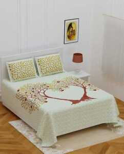 details about indian cotton queen size bedsheet pillow cover jaipuri love tree print bed set