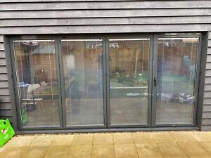 details zu 4m x 2 1m quality aluminium bi fold patio doors inc glass 4 panels with blinds