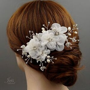 bridal hair b white silk flower crystal pearl headpiece wedding accessory 43 ebay
