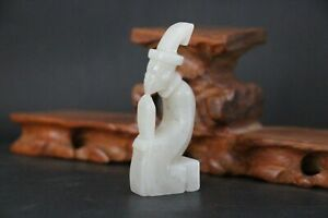 Old Chinese Nephrite White Jade Carve Pendant Toggle Statue AUSPICIOUS People