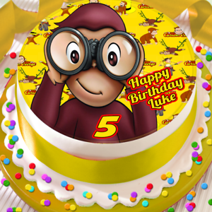Curious George Personalised Happy Birthday 7 5 Inch Edible Cake Topper B 072g Ebay
