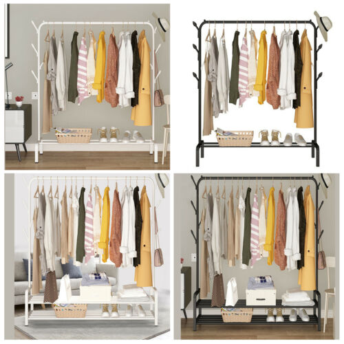 storage solutions black metal clothes rail heavy duty garment hanging rack shop use display stand home furniture diy