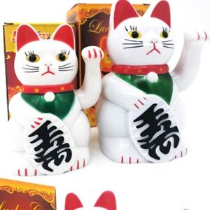 Lucky Cat Wealth Electric Waving Cat Beckoning White Cat Chinese Mean Gift Chic