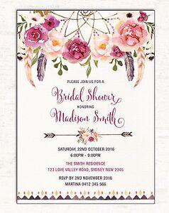 Boho BRIDAL SHOWER Invitation Floral Invite Dreamcatcher