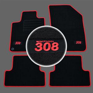 details sur 4 tapis sol peugeot 308 2 active allure access moquette logo rouge sur mesure