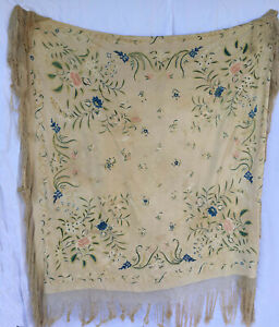 Antique Chinese Large Canton Shawl Embroider Floral Flapper Shawl 20s
