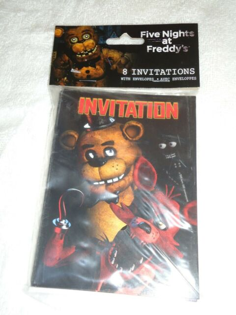 five nights at freddy s invitations w envelopes 8ct 2017 factory