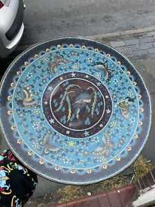 Chinese Cloisonne Large Charger Wall Plaque,meji Period