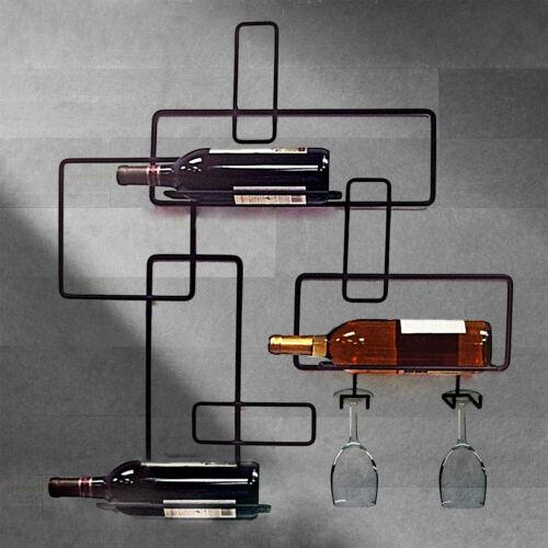 vin bouteille etagere de rangement porte verre fer mural bar cuisine home decor