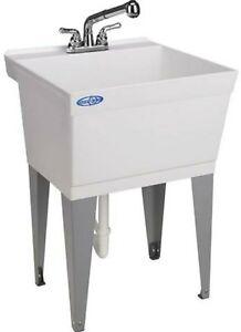 details about utilatub laundry sink tub deep basin floor mount utility pullout faucet kit