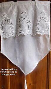 details sur rideau brise bise brode polyester coton 45x60 medaillons guipure blanc