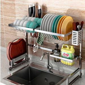 details about 65cm over the sink dish drying rack stainless steel kitchen storage holder au