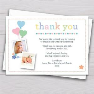 details about personalised joint christening naming day baptism thank you cards girl boy