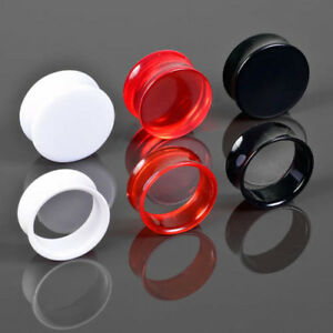 3-25mm Plug Flesh Tunnel double flared Acryl Ohr Piercing Kunststoff Tube UFT